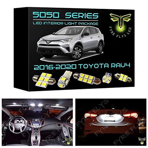 Fyre Flys 8 Piece White LED Interior Lights for 2016-2020 Toyota RAV4 6000K 5050 Series SMD Package Kit and Install Tool
