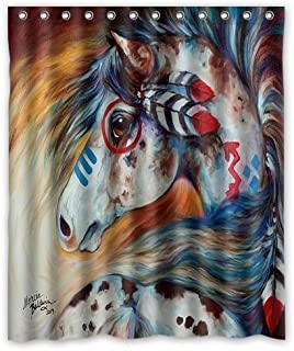 Unique and Generic Spirit Indian War Horse The Gift Watercolor painting Custom Printed Waterproof fabric Polyester Shower Curtain 60