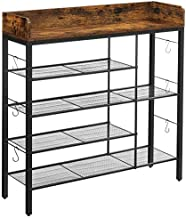 VASAGLE INDESTIC Shoe Rack Organizer, Holds up to 14 Pairs of Slippers, High Heels, Boots, in the Entryway, Living Room, Bedroom, Industrial, Rustic Brown and Black ULBS018B01