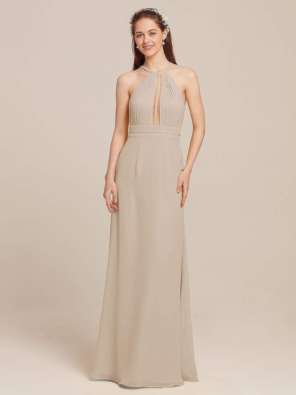 AW BRIDAL Chiffon Halter Bridesmaid Dresses Long Evening Party Dresses Cocktail Dresses for Women