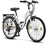 Stella Bicicleta para Mujer, 24 pulgadas, luz de bicicleta, cambio Shimano 21 marchas, bicicleta de...