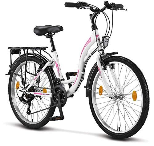 Licorne Bike Stella Premium City Bike in 24 Zoll - Fahrrad für Mädchen, Jungen, Herren und Damen - 21 Gang-Schaltung - Hollandfahrrad - Weiss
