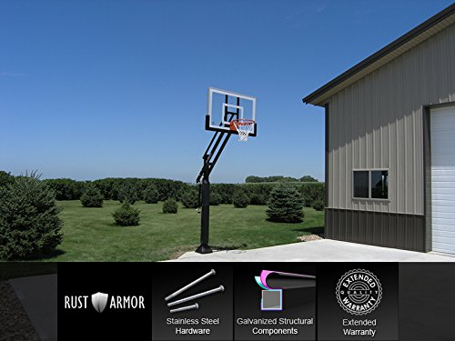 Pro Dunk Silver – In-ground Adjustable Basketball Goal Hoop with...