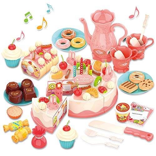 GILOBABY Birthday Cake Toy with Lights & Birthday Music, Pretend Play Cutting Food Kitchen Toy with Tea Set Bread Roll, Chocolate, Sandy & Dessert, Gift for Girls Boys 3 4 5 Year Old (82 PCS)