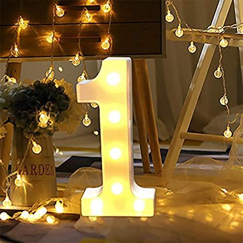 LED Zahlen Lampe Nummer Beleuchtete Ziffern 0 bis 9,Led dekoration für Geburtstag Party Hochzeit & Urlaub Haus Bar (1)