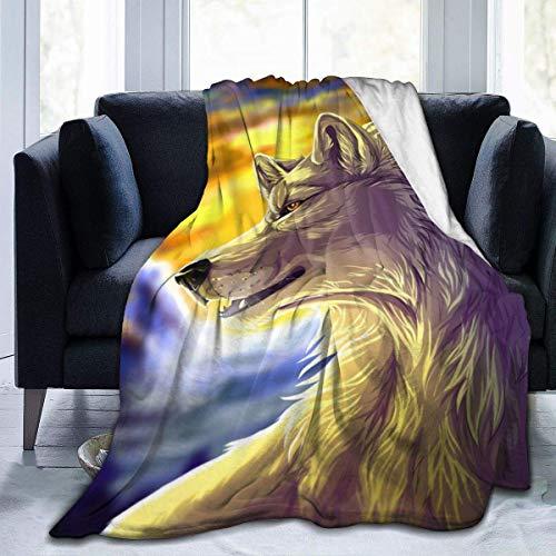 Lawenp Manta de Felpa Suave de Franela de Lobo Blanco Feroz, Manta de Cama de Lujo acogedora súper Suave Negra, Microfibra de 60x50 Pulgadas