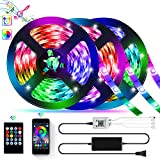 39.42ft LED Strip Lights, YLCVBUD Smart RGB Bluetooth LED Lights Strip 5050 SMD Music Sync Color Changing Lights APP Control with 20 Keys Remote Built-in Mic for Bedroom, Party, Home Decoration