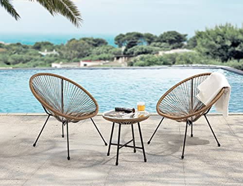 EVRE Goa Acapulco Styled Garden Furniture Set Bistro Patio Indoor Outdoor For Balcony, Garden, Terrace, 2 Chairs And 1 Table (Natural)