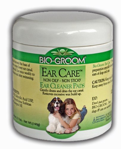 Bio-Groom Ear Care Medicated Ear Cleaner Pads Ultra Soft Saturated Cotton 25Pk