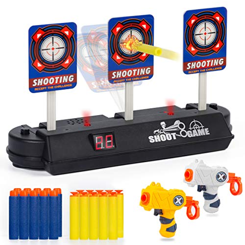 Wrystte Shooting Target for Nerf Guns Kids Boys Girls, Auto Reset Target with 2 Toy Guns & 20 Foam Darts Electric Scoring Targets Shooting Games Best Xmas Birthday Gifts