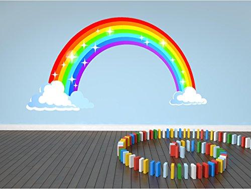 Sticker mural pour chambre d'enfant Motif arc-en-ciel et nuages Taille M 40 x 21 cm