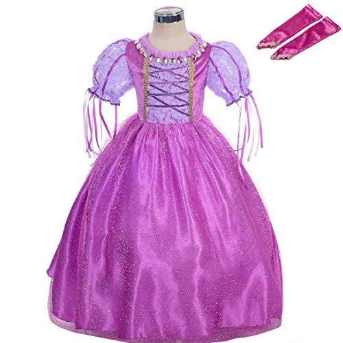 Lito Angels Costume da principessa Rapunzel per bambina, Vestito da festa di halloween e compleanno, con Guanti da Braccio, Taglia 5-6 Anni