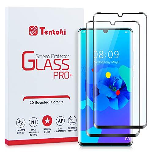 Tentoki Verre Trempé pour Huawei P30 Pro, [Lot de 2] [Couverture Complète] Film Protection Ecran Vitre HD, [sans Bulles, Facile à Installer] Dureté 9H pour Huawei P30 Pro