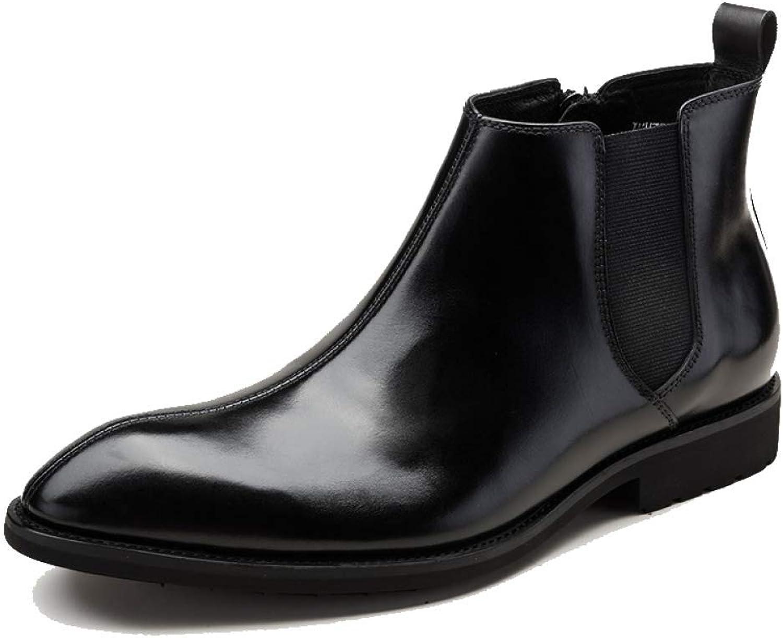 HDDR Mens Real Leather Chelsea Boots svart Smart Smart Smart Formal Casual Work Ankle Slip on Dealer Boots skor  het försäljning