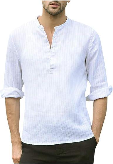 YEBIRAL Camisa Hombre Blusa Suelta Casual Manga 3/4 ...