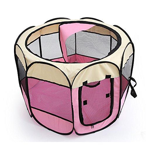 Kismaple Animali Box Portatile Pieghevole Cucce gabbiette recinzioni per Cuccioli, Cane, Gatti, Coniglio Porcellini d'India all'Interno e Esterno Impermeabile Tenda Box (S:72×72×45cm, Rosa)