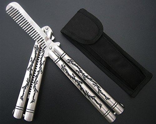 VAGANY Haute Qualité Papillon Couteau Formation Dull Knife/Peigne Formateur avec Nylon Fourreau (Dragon Comb)