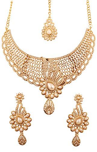 Touchstone Ciudad de oropel Bollywood Indio Exclusivo kundan polki Look Perlas de imitación Conjunto de Collar de joyería de Novia de diseñador Pesado para Mujer Oro