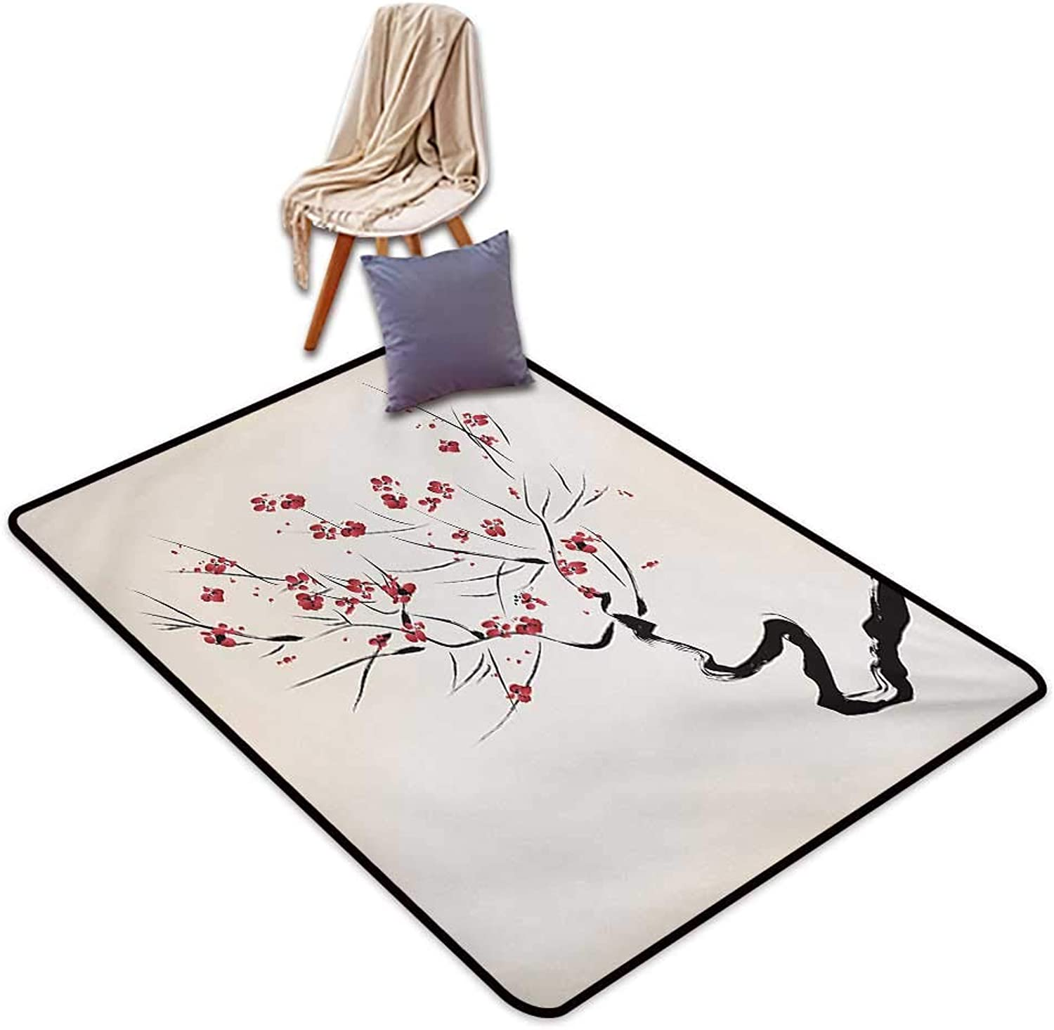Asian Indoor Super Absorbs Mud Doormat Ink Style Blossoms Stylized Upside Down Brush Painting Effect Illustration Water Absorption, Anti-Skid and Oil Proof 48  Wx59 L Coral Black Beige