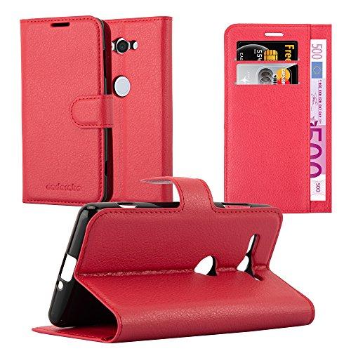 Cadorabo Funda Libro para Sony Xperia XZ2 Compact en Rojo CARMÍN - Cubierta Proteccíon con Cierre Magnético, Tarjetero y Función de Suporte - Etui Case Cover Carcasa