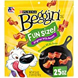 One (1) 25 oz. Pouch - Purina Beggin' Real Meat Dog Treats, Fun Size Original With Bacon Real meat is the #1 ingredient in our bacon flavored treats Big, bacony flavor in small dog treats made with small dogs in mind and made to satisfy big dogs too ...