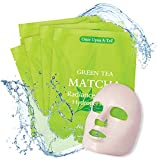 Green Tea MATCHA Radiance & Glow Hydrogel Sheet Facial Mask | Moisturizing, Lifting, Pore Reducer, Minimize Wrinkles | Hydrate, For Any Skin Type | 5-Pack