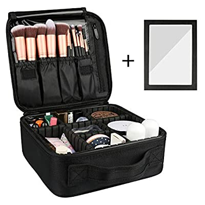 Rosmax Travel Makeup Case,Portable Organizer Makeup Bag Cosmetic Train Case with Mirror - Large Capacity and Adjustable Dividers for Cosmetics Makeup Brushes and Toiletry Jewelry for More Storage
