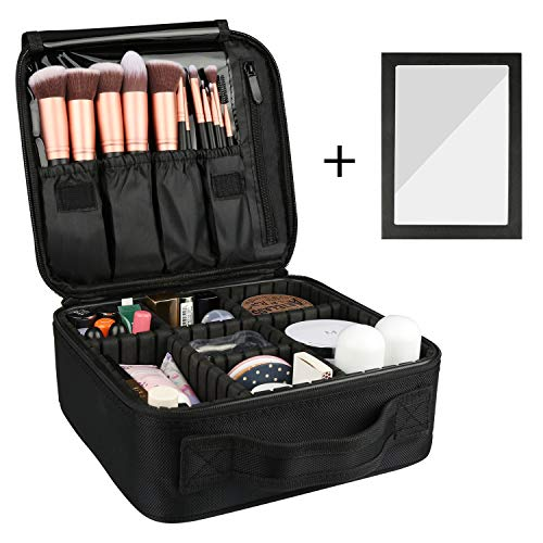 Rosmax Travel Makeup Case,Portable Organizer Makeup Bag Cosmetic Train Case with Mirror - Large...
