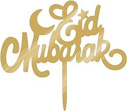 KESYOO Eid Mubarak Cake Topper Gold Glitter Ramadan Mubarak Cupcake Toppers Cake Picks Cake Decorations Happy Eid Party De...