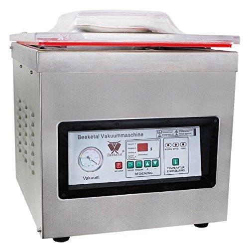 Beeketal 'DZ-400T' Profi Kammer Vakuumierer mit 2 Impuls Schweißleisten, elektronisch gesteuertes Vakuumiergerät mit 20m³/h Absaugvolumen und integriertem Impuls Folienschweißgerät, Tischgerät