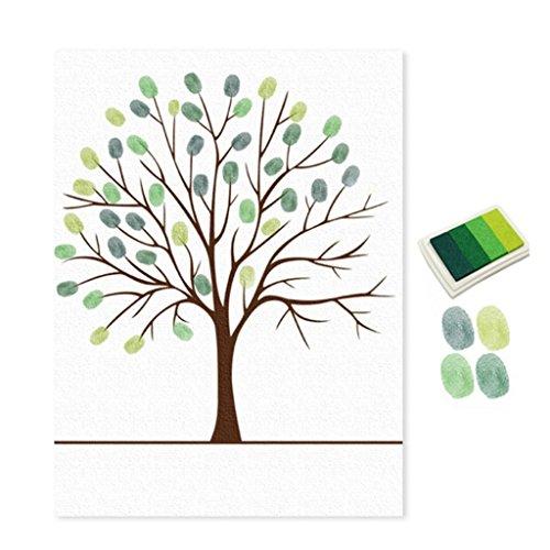 Sukisuki Libro de visitas con diseño de árbol de huellas dactilares, con almohadilla de tinta, decoración de pared (verde)