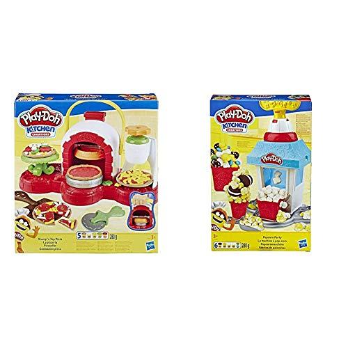 Hasbro Play-Doh Play-Doh-La Pizzeria (Playset con 5 Vasetti di Pasta da Modellare), Multicolore, E4576Eu4 & Play-Doh- Kitchen Creations Play-Doh Popcorn Party Set con 6 Vasetti di Pasta da Modellare