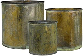 CYS EXCEL ZACY060606S3-1S Zinc Cylinder Vases Metal Cup Planters Set of 3 with Different Size, Barcelona