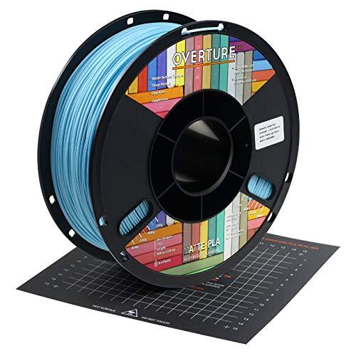 OVERTURE PLA Matte Filament 1.75mm with 3D Printer Build Surface 200mm × 200mm, Light Blue Matte PLA Roll 1kg Spool (2.2lbs), Dimensional Accuracy +/- 0.05 mm, Fit Most FDM Printer