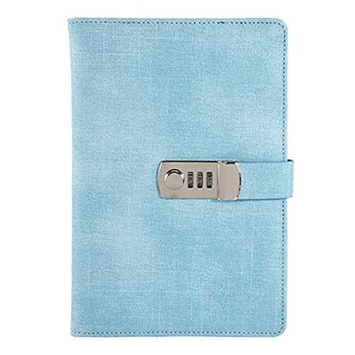 bobotron Passwort Cuaderno de notas de papel con cierre de barra, portátil, de poliuretano, diario de viaje, diario semanal, planificador, papel (azul cielo)