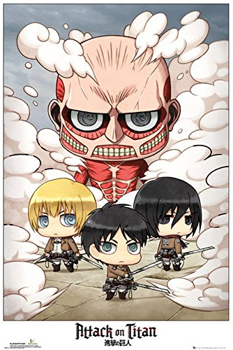 Empireposter – Attack on Titan – Chibi Group – Taille (cm) : 61 x 91,5 cm – Poster -