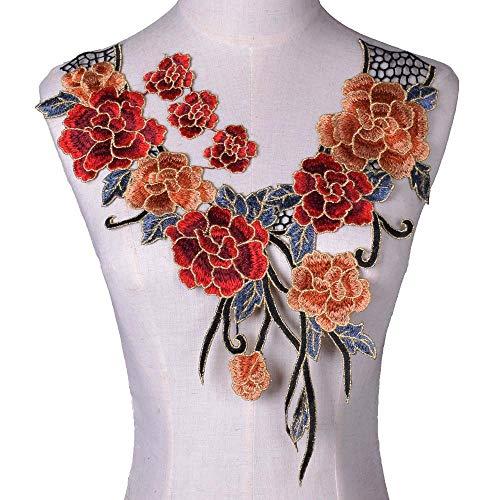1 pieza de vino flor floral de encaje de tela de costura apliques de encaje collar de collar de bricolaje artesanía accesorios de costura