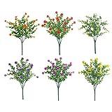 Sanfiyya Las Plantas Artificiales Paquete Falso eucalipto Rose Ramo de Flores de plástico Decorativas de Mesa centros de Mesa para la Boda del Dormitorio 6pcs