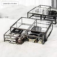 化粧オーガナイザー化粧品収納ボックスオーガナイザーボックス、化粧品収納引き出し、ジュエリーディスプレイボックス-ブロンズメタリック強化ガラスドレッシングテーブルオーガナイザー (Color : A16)