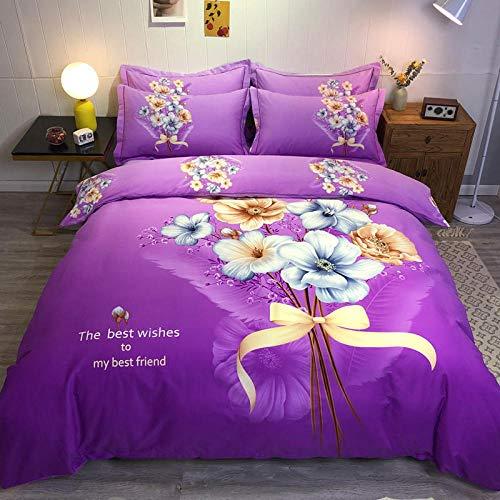 Goodlife-1 Comfort Lujoso Juego de sábanas Juego de sábanas con Funda nórdica y Fundas de Almohada Reversibles Azules Florales Rojas-T_Rey