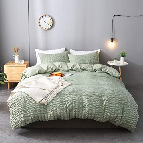 M&Meagle 3 Pieces Textured Duvet Cover Green Set with Zipper Closure,100% Washed Microfiber Seersucker Fabric,Luxury Hotel Quality Bedding-King Size(1 Duvet Cover 2 Pillowcases)