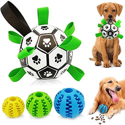 Pelota de fútbol para perro mejorada con correas de agarre y 3 dientes de limpieza masticable iq Treat Balls perfectos juguetes interactivos para perros para..
