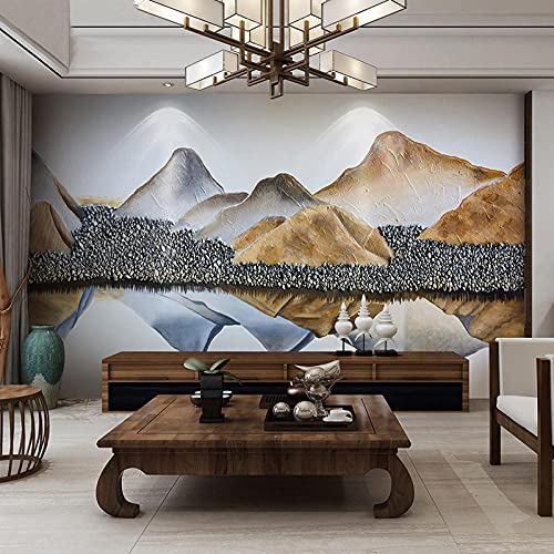 Seamless custom new Chinese style abstract landscape film and television background wall painting, living room TV wallpaper soft and hard pack-350x245cm