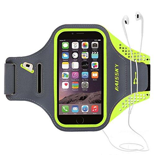 HAISSKY Schweißfest Sport Armband Universell Handyhülle Kompatibel mit iPhone 8/7/6/6S/SE,Galaxy S7/S6/S5 Mit Schlüsselhalter, Kabelfach,Kartenhalter für Joggen Radsport Fitness bis 5.2 Zoll