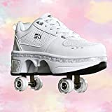 DHTOMC Roller Shoes Adulte,Patins A roulettes,Chaussure Roller Fille, Kick Roller Skate Shoes,Patins A roulettes, 4 Roues Patins A roulettes Casual Sneakers,EUR40