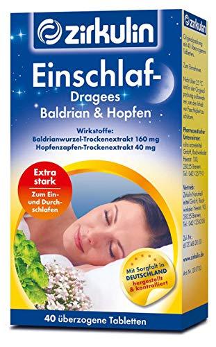 Zirkulin Einschlaf-Dragees Baldrian & Hopfen hoch dosiert zum Einschlafen und Durchschlafen (40 Dragees)