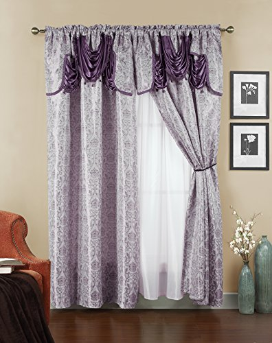 Elegant Home Beautiful Window Curtain Drapes All-in-One Set with Attached Valance & Sheer Backing for Living Room, Bedroom, Dining Room, and Sliding Doors (No Tie Back) - Ehjen (Purple)