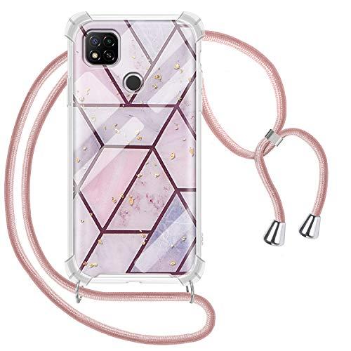 Greneric Handykette Hülle für Xiaomi Redmi 9C, Marmor Necklace Hülle mit Kordel Transparent Silikon Handyhülle mit Kordel zum Umhängen Schutzhülle mit Band in Roségold