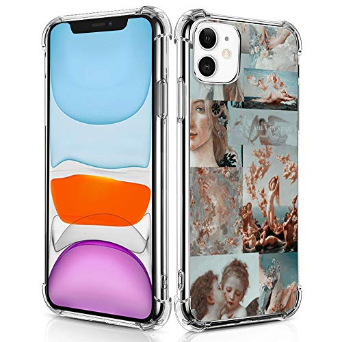 Compatible with iPhone 11 Case, Retro Angel Art Painting Clear Crystal Case with 4 Corners Shockproof Protection, Designed for iPhone 11 6.1'' with Soft TPU Bumper (Angel Painting)