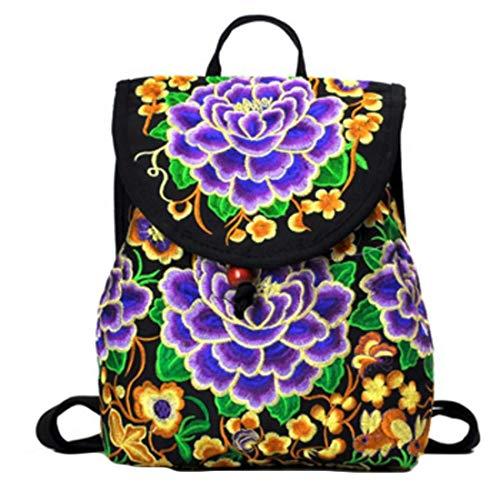 MUCHAO Gestickt Blume Tasche Doppelt Schultertasche RetroStickerei Klein Rucksack Damen Schulter Taschen